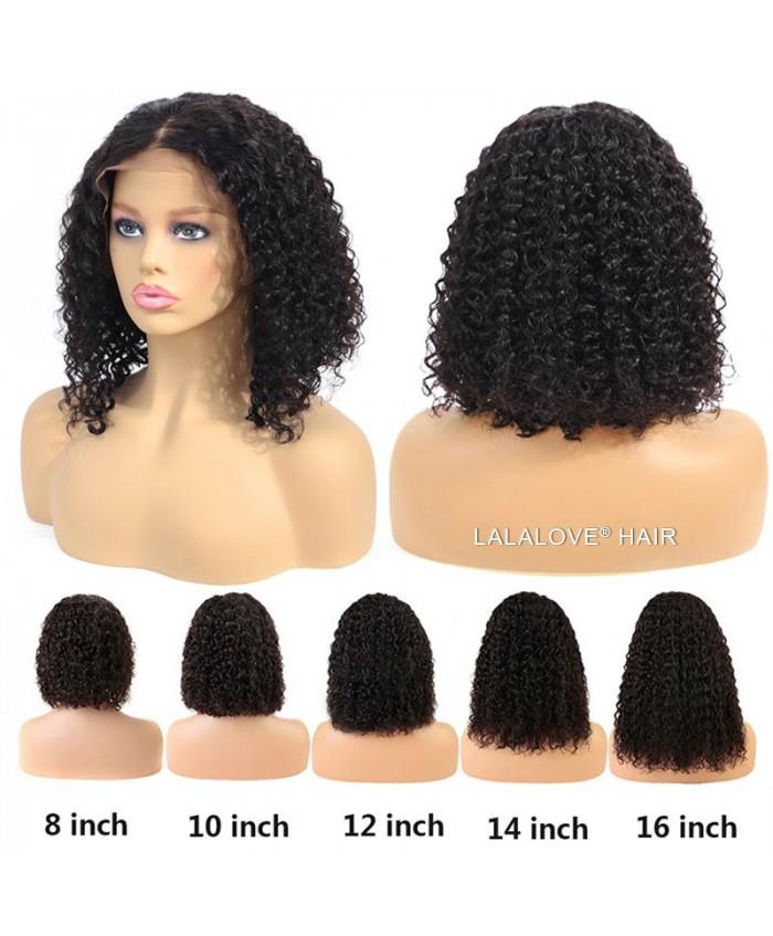 13x4 Kinky Curly Lace Frontal Human Hair Short Bob Hair Wigs